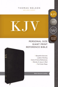 0718098374 | KJV Personal Size Giant Print Reference Bible Black Genuine Leather