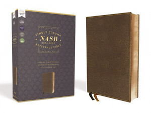 NASB Single-Column Reference Bible (Comfort Print) Brown Leathersoft