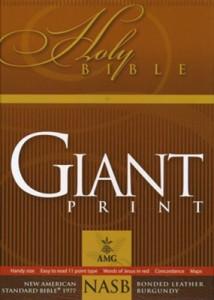 0899579450 | NASB Giant Print Handy Size Bible Burgundy Bonded Leather