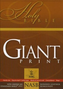 NASB Giant Print Reference Bible Handy Size Bible Black Bonded Leather