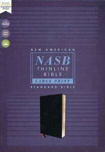 NASB Thinline Bible Large Print Black Bonded Leather