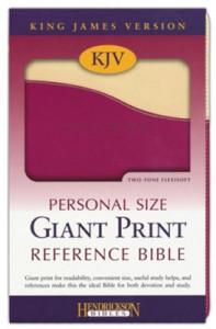 1598565486 | KJV Personal Size Giant Print Reference Bible Cream/Raspberry Flexisoft