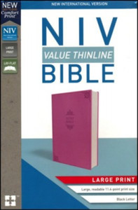 0310448565 | NIV Value Thinline Bible Large Print Comfort Print Pink Leathersoft