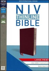 0310448344 | NIV Thinline Bible Large Print Burgundy Bonded Leather