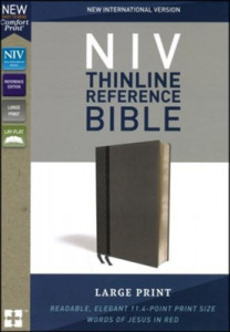 0310449588 | NIV Thinline Reference Bible Large Print Charcoal LeatherSoft