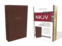 0785217754 | NKJV Giant Print Center Column Reference Bible Mahogany Leathersofter