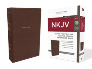 0785217789 | NKJV Giant Print Deluxe Center-Column Reference Bible Mahogany Leathersoft