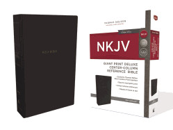 0785217819 | NKJV Giant Print Deluxe Center-Column Reference Bible Black Leathersoft