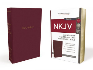 0785217711 | NKJV Giant Print Center Column Reference Bible Burgundy Leather-Look