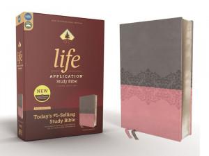 NIV Life Application Study Bible Gray/Pink Leathersoft
