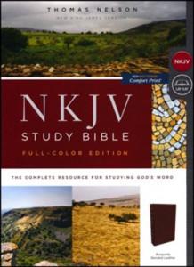 0785220674 | NKJV Study Bible Full-Color Comfort Print Burgundy Bonded Leather Indexed