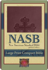 1581351569   NASB Large Print Compact Bible Burgundy Cross Leathertex