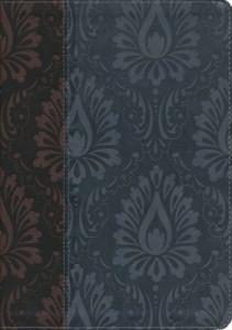 1414368291 | NLT Premium Slimline Reference Large Print Bible Dark Brown/Blue TuTone