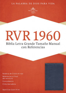 1433691434 | Span-RVR 1960 Hand Size Giant Print Bible-Sapphire Blue LeatherTouch