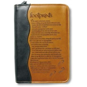 0310807964 | Bible Cover Tan Duo-Tone Footprints