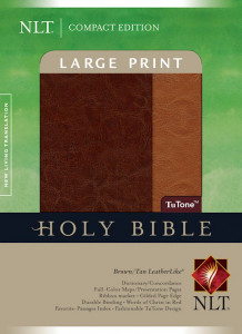 1414337590 | NLT Compact Edition Bible Large Print Brown/Tan TuTone Indexed