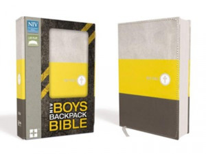 031076078X | NIV Boys Backpack Bible Yellow Charcoal Leathersoft
