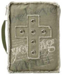 980050 | Bible Cover Grommet Cross Olive MED