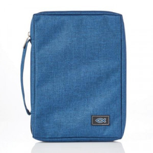 6006937139640 | Bible Cover Classic Basic Canvas with Fish Applique Navy Medium