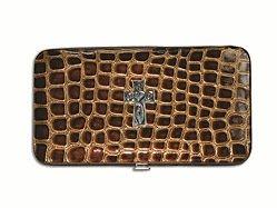 6006937097711  | Wallet Croc Croc Wallet with Embossed Cross, Brown