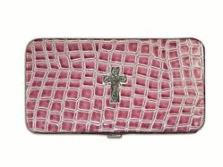 6006937097704  | Wallet Croc Wallet with Embossed Cross, Purple