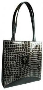 6006937097728 | Bible CoverBlack Purse With Silver Cross Large: Crock Embossed Purse-Style