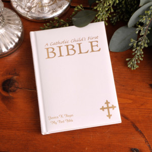 GC906-WHITE | Personalized Laser Engraved Catholic Child's First Bible