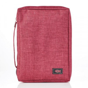 6006937139664 | Bible Cover Classic Basic Canvas with Fish Applique Burgundy Medium