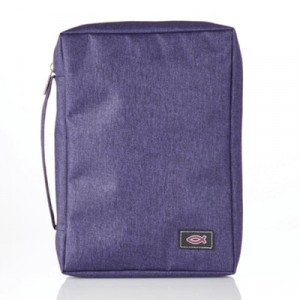 6006937139657 | Bible Cover Classic Basic Canvas with Fish Applique Purple Medium