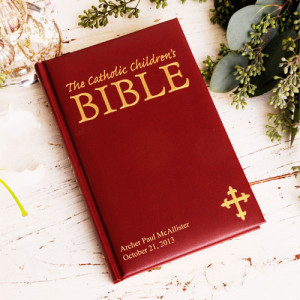 GC907-MAROON | Personalized Laser Engraved Catholic Children's Bible Maroon