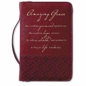 0310520037 | Bible Cover Amazing Grace Large Italian Duo-Tone Rich Red Cover