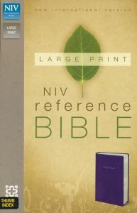 0310434955   NIV Large print Reference Bible Navy LeatherLook Thumb Indexed