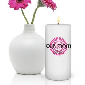 GC390MD   Personalized Round Bouncy Bouquet Candle for Mom