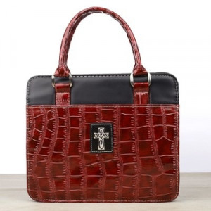 6006937094482   Bible Cover Glossy Croc Embossed Purse Style Large Burgundy