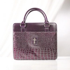 6006937106697 | Bible Cover Croc Embossed Purse Style Large Purple