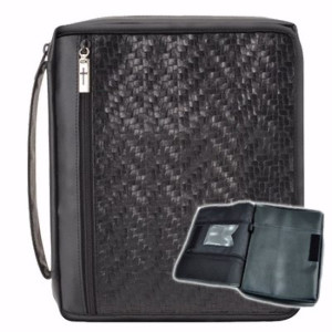 196696 | Bible Cover-Organizer Covered Woven Black-X Large