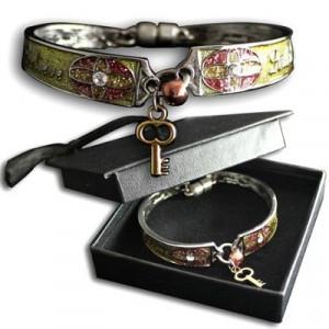 785525259910 | Bracelet-Dream & Believe Handpainted w/Crystals & Gold Key-Graduation Cap Box