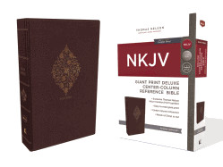 0785217800 | NKJV Giant Print Deluxe Center-Column Reference Bible Burgundy Leathersoft