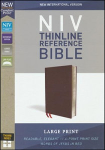 031044957X | NIV Thinline Reference Bible Large Print Comfort Print Burgundy Bonded Leather Indexed