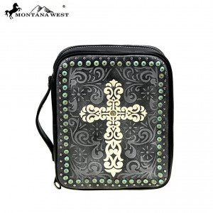 159135 | Bible Cover Embroidered Swirl Cross Black
