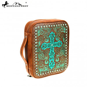 159136 | Bible Cover Embroidered Swirl Cross Brown