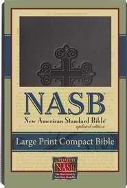 1581351577 | NASB Large Print Compact Bible Black Cross Leathertex
