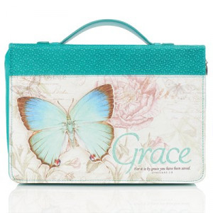 6006937131682   Bible Cover-Classic Butterfly Blessings/Grace Large