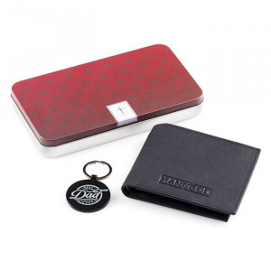 200708 | Leather Wallet And Keyring Set with Gift Tin-Best Dad Ever