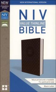 0310448441 | NIV Value Thinline Bible Comfort Print Charcoal Black Leathersoft