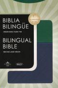 1602554447 | Biblia Bilingüe RVR 1960-NKJV, Piel Italiana Azul y Verde (RVR 1960-NKJV Bilingual Bible,